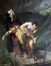'Carrying the Dead', c1842-1896. Artist: Evariste Vital Luminais