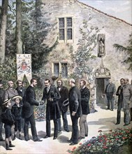 The Grand Duke Constantine of Russia visiting the house of Joan of Arc, Domremy, 1892. Artist: Henri Meyer