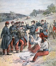 Mail delivery before the grand military manoeuvers, 1893. Artist: Henri Meyer