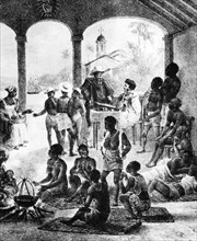 A slave market in Martinique, early 19th century. Artist: Unknown