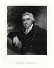 Edward Jenner, English country doctor, 19th century.Artist: E Scriven