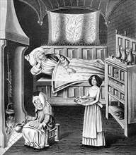 Matron and servant in the sick-chamber, c1470, (1910). Artist: Unknown