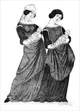 Nurses and sucklings, c1300, (1924). Artist: Hildierand