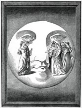 Dante and Beatrice transported to the moon, 16th century (1870). Artist: Unknown