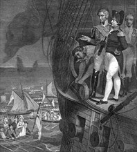 Napoleon Bonaparte (1721-1818) on board the 'Belerophon' off the coast of Plymouth, 19th century. Artist: Unknown