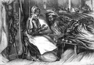 Christmas charity, interior of a hospital in the east, 1855.Artist: George Measom