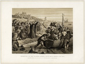 'Departure of the Pilgrim Fathers from Delft Haven, July 1620', (19th century).Artist: T Bauer