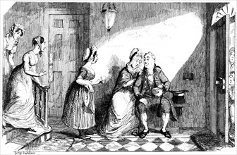 A number of women attend to a poorly man, 19th century.Artist: George Cruikshank