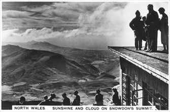 Sunshine and clouds on Snowdon's summit, north Wales, 1936. Artist: Unknown