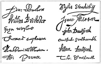 Signatures of the pilgrim fathers, 1620s, (c1920). Artist: Unknown