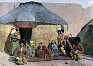 Central Asian family outside their house, c1890. Artist: Unknown