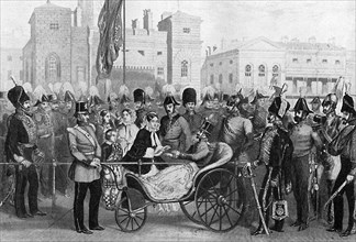 Queen Victoria distributing medals, 18 May 1855, (c1920). Artist: Unknown
