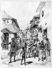 House-to-house visitation during the plague in Bombay, India, 1898.Artist: Melton Prior