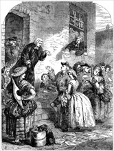 A marriage ceremony in Fleet Prison during the reign of George II, 19th century.Artist: C Sheeres