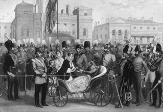 Queen Victoria distributing the Crimean medals, Horse Guards, 18 May 1856, (1857). Artist: R Hind