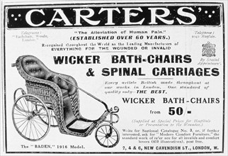 Advert for Carters' wicker bath chairs and spinal carriages, 1916. Artist: Unknown
