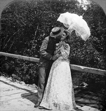 'The Summer Girl and Her Sweetheart'.Artist: American Stereoscopic Company