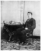 Thomas Edison, American inventor, c1878 (1956). Artist: Unknown