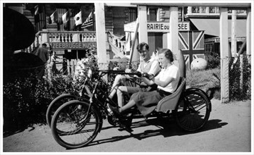 Two-seater tricycle, Zeebrugge, Belgium, 1936. Artist: Unknown