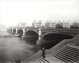 Westminster Bridge and St Thomas's Hospital, London, 1887. Artist: Unknown