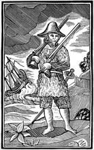 Robinson Crusoe, chapbook cut, 18th century (1964). Artist: Anon