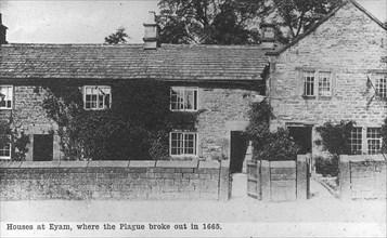 Plague cottages, Eyam, Derbyshire, 20th century. Artist: Unknown