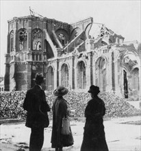 Damage to the Church of Notre Dame, Armentières, France, World War I, c1914-c1918. Artist: Nightingale & Co