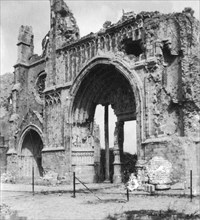 Ruins of the cathedral, Ypres, Belgium, World War I, c1914-c1918. Artist: Nightingale & Co
