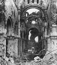Damaged interior of Albert Cathedral, France, World War I, c1914-c1918. Artist: Nightingale & Co