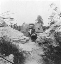 Langer Max, German rail mounted siege gun, Moere, near Ostend, Belgium, World War I, c1918. Artist: Nightingale & Co