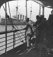 British troops on a troopship, World War I, c1914. Artist: Realistic Travels Publishers