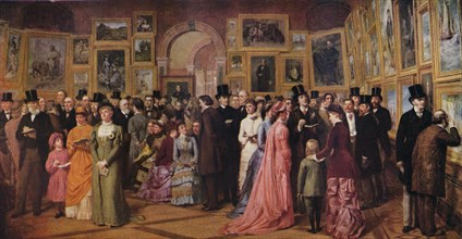 'Private View at the Royal Academy, 1881', 1883 (1935). Artist: William Powell Frith.