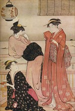 'Three girls on the veranda of a tea-house overlooking Edo Bay at Shinagawa', c1752-1815. Artist: Torii Kiyonaga.