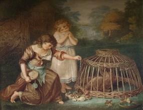 'Feeding Chickens', c1788. Artist: Peltro William Tomkins.
