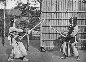 'Fencers Taking Positions', c1903, (1903). Artist: Ogawa & Burton.