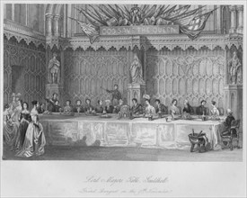 'Lord Mayors Table, Guildhall. Grand Banquet on the 9th November', c1841. Artist: John Shury.