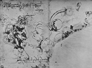 'Two Profiles and Studies of Machinery', c1480 (1945). Artist: Leonardo da Vinci.