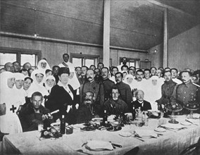 'Russian prisoners exchanged from Germany being entertained to lunch', 1915. Artist: Unknown.