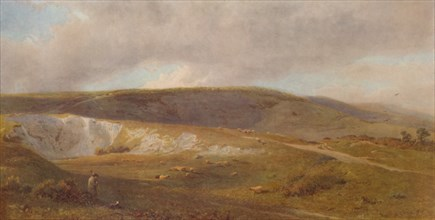 'A Chalk Pit on the Downs, near Eastbourne', 1871, (1935). Artist: Henry George Hine.