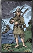 Robinson Crusoe, chapbook cut, 18th century (1964). Artist: Anon.