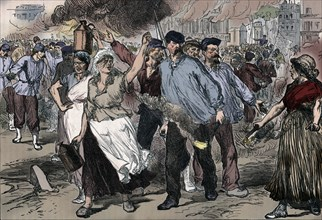 Rioters and petroleuses firing public buildings in Paris during the Paris Commune, 1871 (1906). Artist: Unknown.