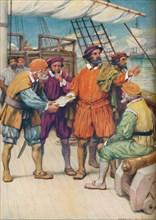 'Magellan Consults with his Navigators',  c1925. Artist: Arthur Percy Dixon.