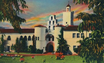 'Main Entrance. Administration Building, State College. San Diego, California', c1941. Artist: Unknown.