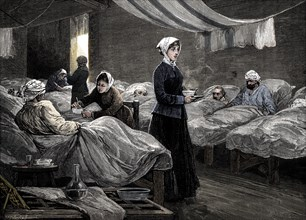 Florence Nightingale in the barrack hospital at Scutari, c1880. Artist: Unknown.