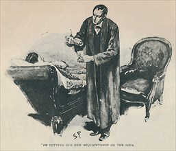 'He Settled Our New Acquaintance On The Sofa', 1892. Artist: Sidney E Paget.