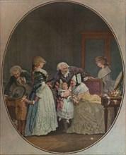 'Les Bouquets, Ou La Fete De La Grand'Maman', 1788, (1913). Artist: Philibert Louis Debucourt.