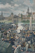 'The French Army Leaving Leipsic', 1813, (1896).  Artist: Unknown.