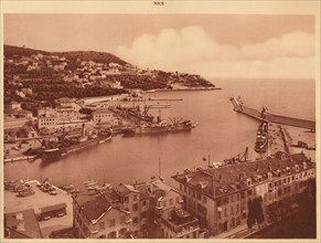 'The harbour entrance and Mont-Boron, Nice', 1930. Creator: Unknown.
