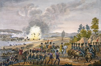 The French retreat after the Battle of Leipzig, Germany, 19th October 1813. Artist: Francois Pigeot