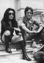 John Lennon and Yoko Ono giving a press conference in Cannes, France, 1971. Artist: Unknown